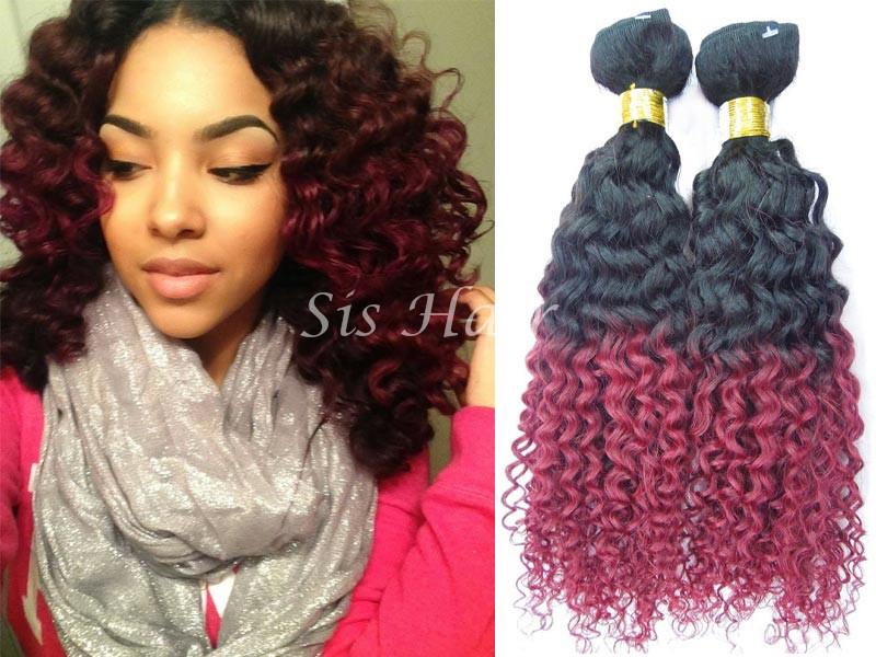 1 bundle 8a ombre brazilian remy hair deep curly t1bburgundy ombre hair extensions brazilian remy hair deep curly t1b 99j pmusecretfo Choice Image