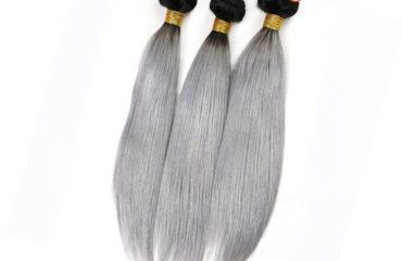 Granny Silver Gray Ombre Brazilian Remy Hair Straight 1
